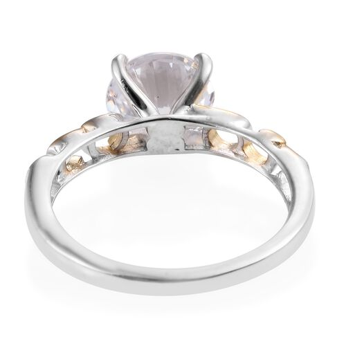 J Francis - Platinum and Yellow Gold Overlay Sterling Silver (Rnd 8mm) Solitaire Ring Made with SWAROVSKI ZIRCONIA