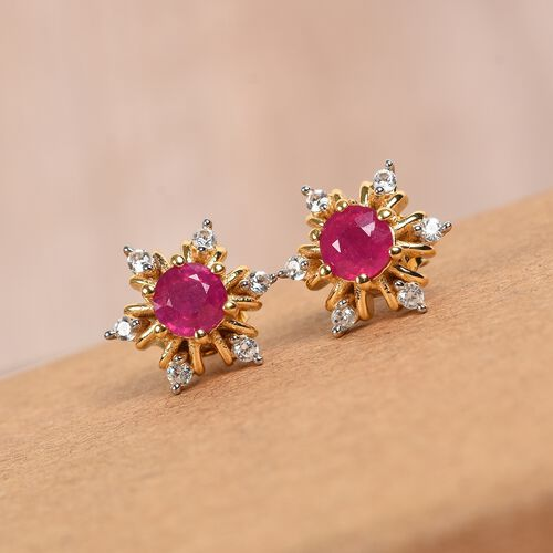 AA African Ruby and Natural Cambodian Zircon Snowflake Stud Earrings (with Push Back) in 14K Gold Overlay Sterling Silver 1.25 Ct.