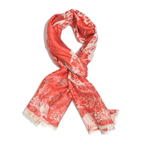 SILK MARK- 100% Superfine Silk Red and Silver Colour Jacquard Jamawar shawl (Size 180x70 Cm) (Weight