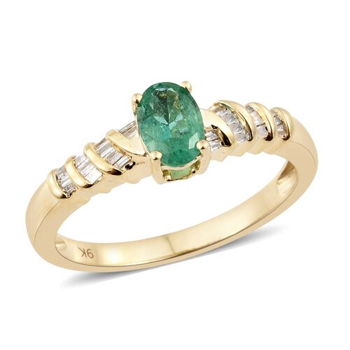 1 Carat AA Zambian Emerald and Diamond Solitaire Ring in 9K Gold 2.78 Grams