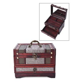Silver Floral Embossed 3 Layer Jewellery Box with Inside Mirror, Top Removable Tray and a Pull-out D