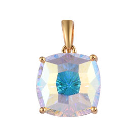 J Francis Crystal from Swarovski AB Crystal Pendant in 14K Yellow Gold Overlay Sterling Silver