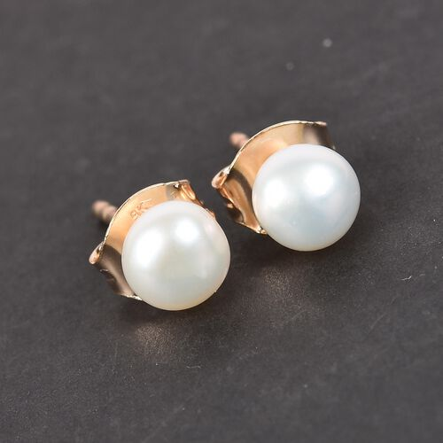 9K Yellow Gold Freshwater Pearl Stud Earrings (with Push Back)