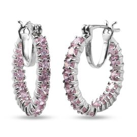 One Time Deal - Simulated Pink Colour Diamond Hoop Earrings in Platinum Plated