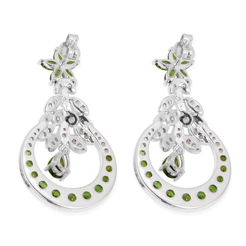 Russian Diopside (Pear), Natural Cambodian White Zircon Dangle Earrings (with Push Back) in Rhodium Overlay Sterling Silver 5.020  Ct, Silver wt 8.81 Gms.