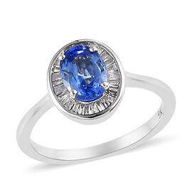 1.25 Ct AAA Royal Ceylon Sapphire and Diamond Halo Ring in 9K White Gold 2.30 Grams