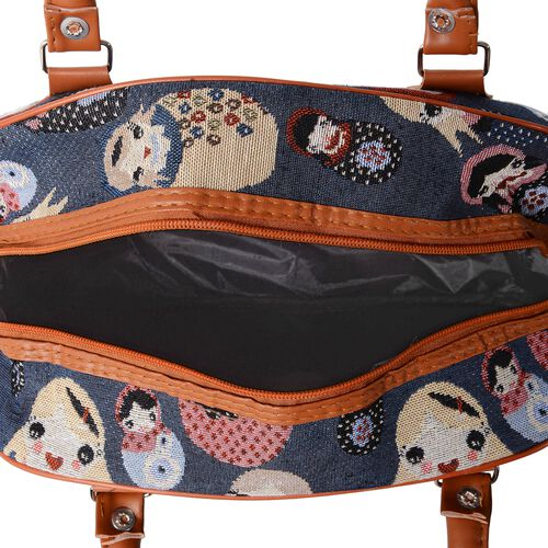 Russian Doll Pattern Tote Bag with Shoulder Strap (Size 35x23x13.5 Cm)