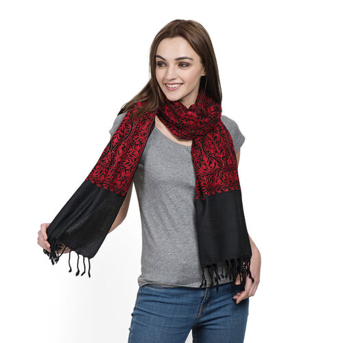 Designer Inspired 100% Merino Wool Red Colour Floral Embroidered Black Colour Scarf with Fringes (Si