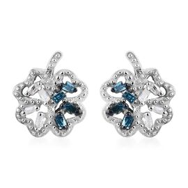 Blue and White Diamond Leaf Earrings (with Push Back) in Platinum Overlay Sterling Silver 0.05 Ct.