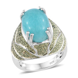 Natural Peruvian Amazonite (Ovl 14x10 mm), Green Diamond Ring (Size S) in Platinum Overlay Sterling Silver 5.