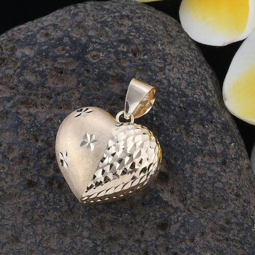 Royal Bali Collection - 9K Yellow Gold Diamond Cut Heart Pendant