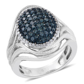 Blue Diamond (Rnd), White Diamond Cluster Ring in Platinum Overlay Sterling Silver 0.750 Ct.
