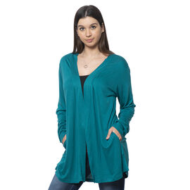 Teal Colour Push up Sleeve Cardigan with Pockets