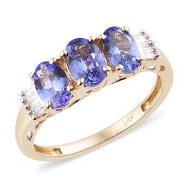 Tanzanite (1.33 Ct) and Diamond 14K Y Gold Ring  1.410  Ct.