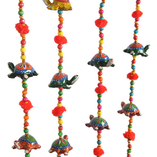 Set of 5 - Handmade and Handpainted Turtle Motif Decorative Hanging Strings (Size 86x5 Cm) - Multicolour