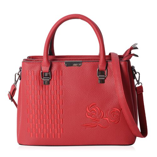 Embroidery Ture Red Rose Colour Tote Bag with Removable Shoulder Strap Size L32x H23.5x W12 Cm