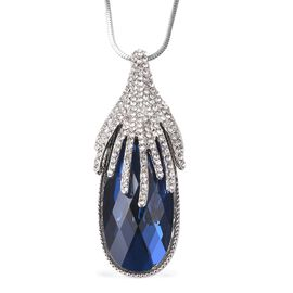 Simulated Blue Spinel (Pear), White Austrian Crystal Necklace (Size 28 with 1.5 inch Extender) in Si