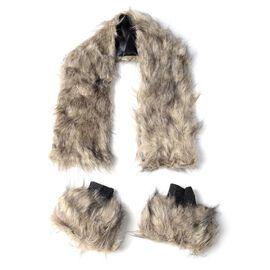 Faux-Fur Wrist Cuffs (16.5x14.5 Cm) and Faux Fur Collar Scarf (Size 96x14.5 Cm)