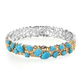 12.75 Ct Sleeping Beauty Turquoise Bangle in Platinum and Gold Plated Silver 32.45 grams 7.5 Inch