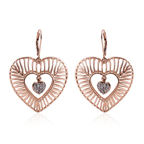 J Francis Rose Gold Overlay Sterling Silver Dangle Heart Earrings Made with SWAROVSKI ZIRCONIA