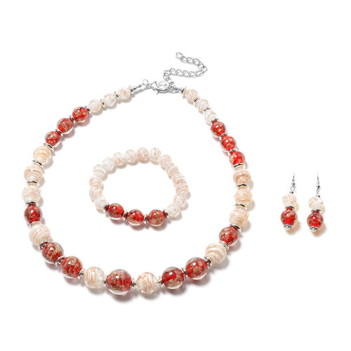 3 Piece Set - Red and White Murano Beads Hook Earrings, Necklace(Size 23 with Extender) and Bracelet