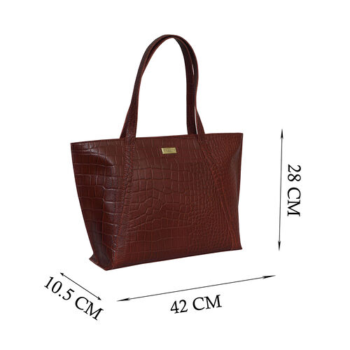 Assots London AGNES Croc Embossed Genuine Leather Tote Bag with Zipper Closure (Size 33x11x26 Cm) - Red