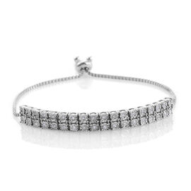Close Out Deal Diamond (I1-I2 Clarity, Rnd) Bolo Bracelet (Size 6.5 to 8.5 Adjustable) in Platinum O