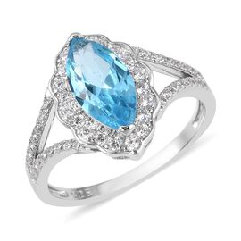 ELANZA Simulated Aquamarine (Mrq), Simualted Diamond Ring in Rhodium Overlay Sterling Silver