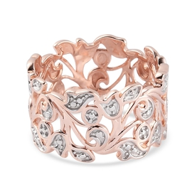 Diamond Floral Vine Band Ring in Rose Gold Overlay Sterling Silver