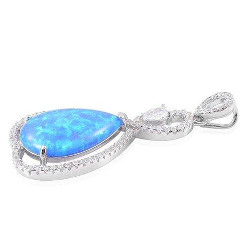 Simulated Ocean Blue Opal and Simulated White Diamond Pendant in Rhodium Plated Sterling Silver