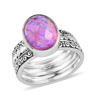 Sajen Silver Cultural Flair Collection - Set of 3 Quartz Doublet Simulated Opal Lavender Ring in Rho