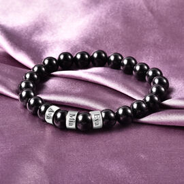 Personalise Engravable Black Spinel Beads Stretchable Bracelet, Stainless Steel