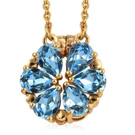 J Francis - Crystal from Swarovski Aquamarine Colour Crystal (Pear) Floral Necklace (Size 18) in Gol