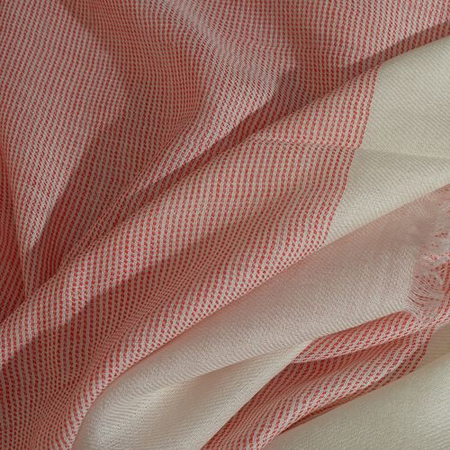 100% Cashmere Wool Rapture Rose and Off White Colour Shawl with Fringes (Size 200X70 Cm)