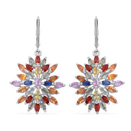 Designer Inspired-Rainbow Sapphire (Mrq) Lever Back Earrings in Rhodium Plated Sterling Silver 10.500 Ct. Silver wt 7.5 Gms.