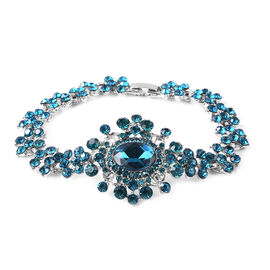 Simulated London Blue Topaz and Blue Crystal Victorian Design Bracelet in Silver Tone 7.5 Inch