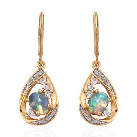 1.25 Carat Ethiopian Opal and Cambodian Zircon Drop Earrings in Gold Plated Sterling Silver 5.45 Gms
