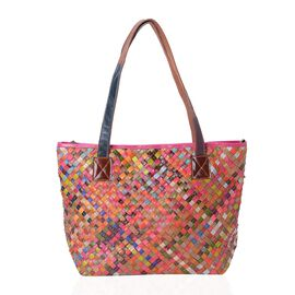 MOROCCO COLLECTION Hand Woven 100% Genuine Leather Multi Colour Tote Bag (Size 42x30x29x14 Cm)