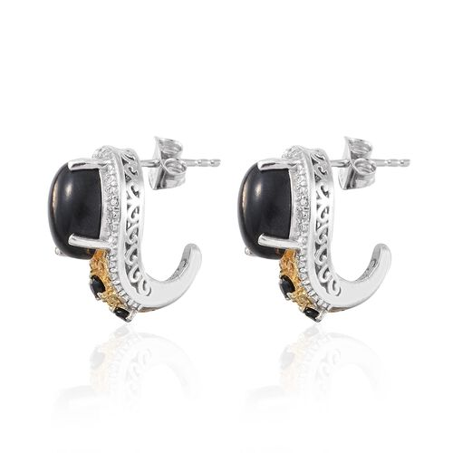 Arizona Mojave Black Turquoise (Ovl), Boi Ploi Black Spinel J Hoop Earrings (with Push Back) in Platinum and Yellow Gold Overlay Sterling Silver 7.000 Ct.