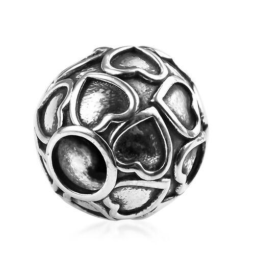 Charmes De Memoire Platinum Overlay Sterling Silver Heart Ball Charm, Silver wt 3.05 Gms