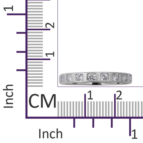 ELANZA Simulated Diamond (Rnd) Eternity Band Ring in Rhodium Overlay Sterling Silver
