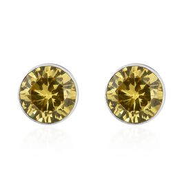Super Auction - ELANZA Simulated Yellow Sapphire (Rnd 5mm) Stud Earrings (with Push Back) in Sterling Silver