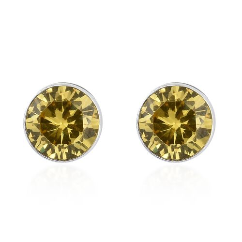 ELANZA Simulated Yellow Sapphire (Rnd 5mm) Stud Earrings (with Push Back) in Sterling Silver