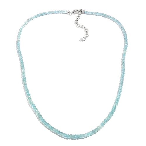 One Time Deal- Espirito Santo Aquamarine (Rnd) Beads Necklace (Size 18) in Platinum Overlay Sterling