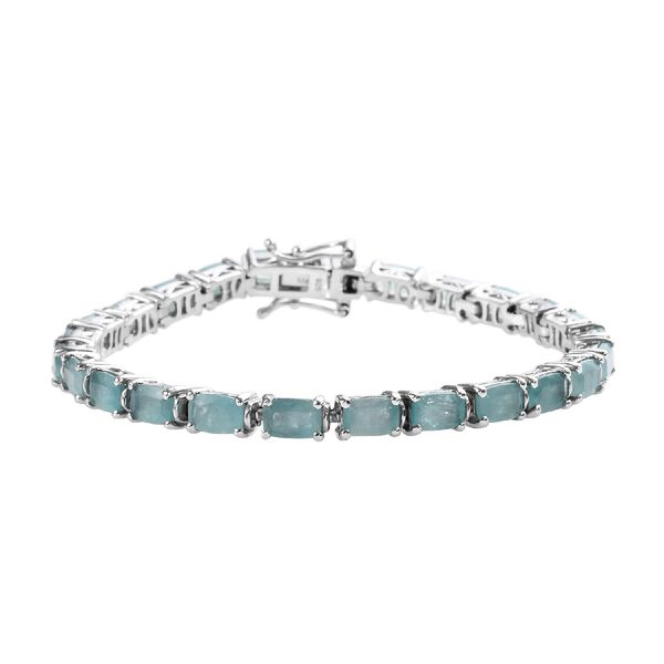 Extremely Rare 13.50 Ct Grandidierite Tennis Bracelet in Platinum Plated Silver 12 Grams 7 Inch