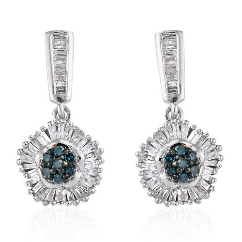Blue Diamond (Rnd), White Diamond Earrings (with Push Back) in Platinum Overlay Sterling Silver 0.50