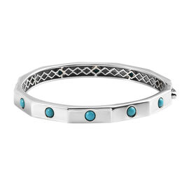 Arizona Sleeping Beauty Turquoise  Full Bangle in Platinum Overlay Sterling Silver 2.52 Ct,  Silver