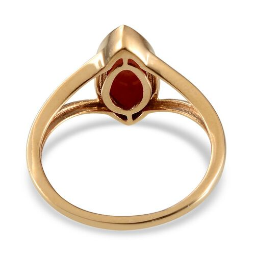 Natural Mediterranean Coral (Mrq) Ring in 14K Gold Overlay Sterling Silver 1.650 Ct.