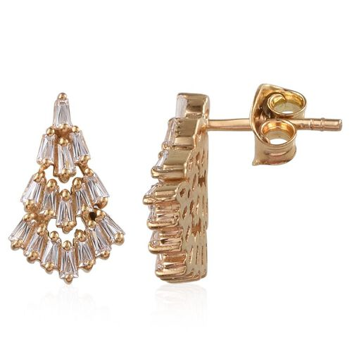 J Francis - 14K Gold Overlay Sterling Silver (Bgt) Earrings (with Push Back) Made with SWAROVSKI ZIRCONIA