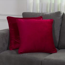 Set of 2 Solid Velvet Cushion Cover  (Size 45x45 Cm) Red Wine